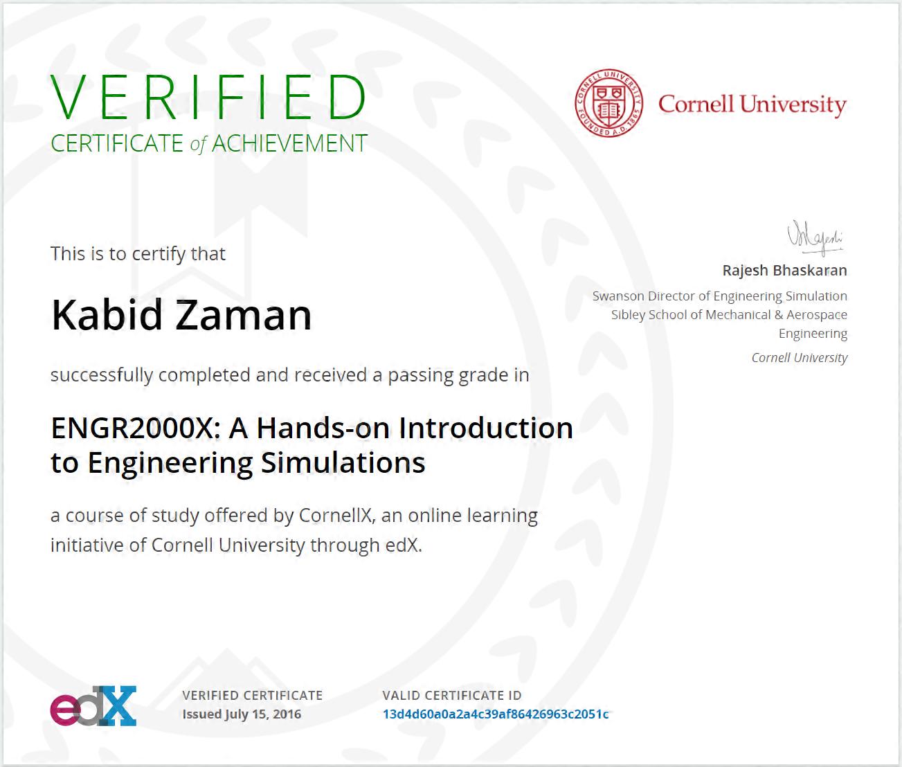 Engineering Simulations CornellX ENGR2000X Certificate