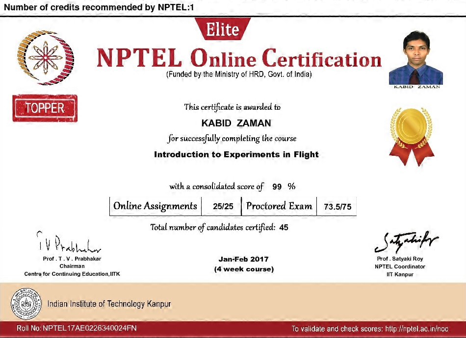 NPTEL17AE0226340024FN Introduction to Experiments in Flight Certificate