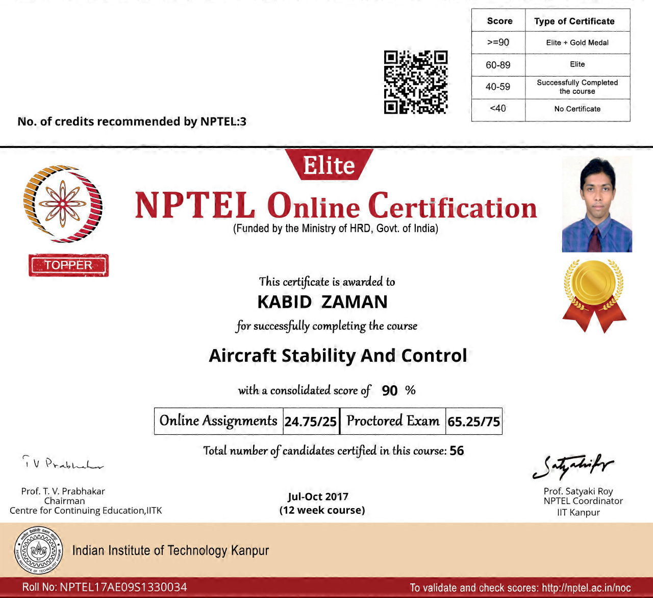 NPTEL17AE09S1330034171015541 Aircraft Stability and Control Certificate