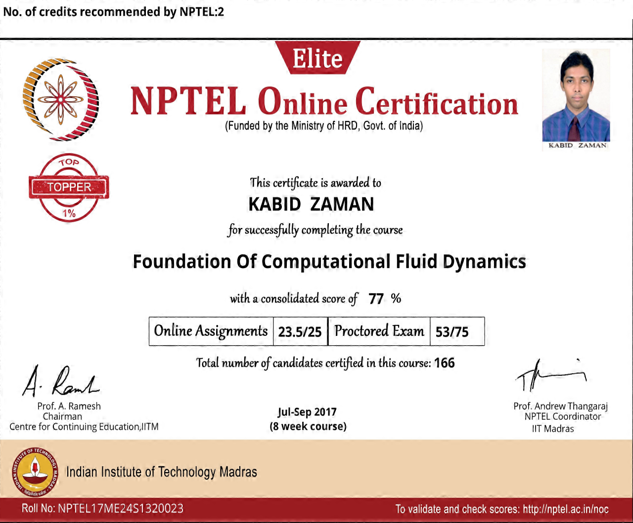 NPTEL17ME24S1320023171011988 Foundation of Computational Fluid Dynamics Certificate